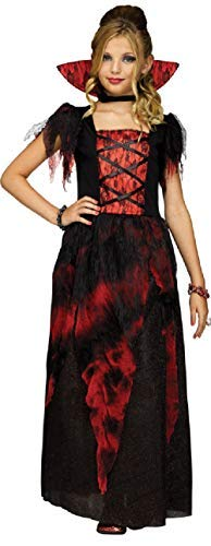 Fancy Me Ragazze Teenager Contessa Sangue di Vampiro Ciuccio TV Libro Horror Film Halloween Costume Travestimento 7-14yrs - Nero, 10-12 Years