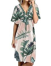 FacnyPrintMe Women's V-Neck Boho Floral Tropical Beach Casual Sun Dress