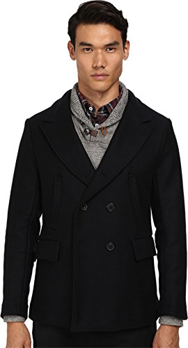 Billy Reid Men's Wool Double Breasted Bond Peacoat with Leather Details, Navy, Medium (Navy Wool Peacoat)