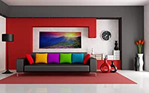 Canvas Painted Home Picture (Sunset and Thanking) Size 150x60cm