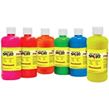 School Smart 1439240 Non-Toxic Washable Tempera Paint Set, 1-Pint Plastic Bottle, Assorted Fluorescent Color (Pack of 6)