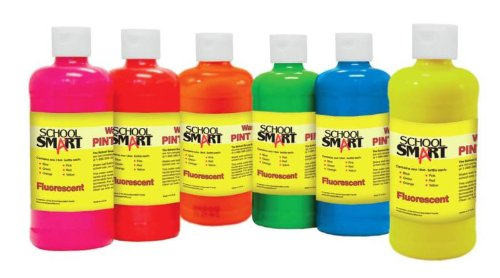 School Smart 1439240 Non-Toxic Washable Tempera Paint Set, 1-Pint Plastic Bottle, Assorted Fluorescent Color (Pack of 6)
