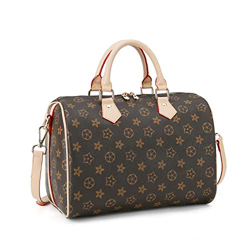 Speedy Bandoulier Bag Handle Satchel Shoulder Bag Purses Handbags Leather Messenger Bag Tote for Women Brown (Louis Bags For Vuitton Sale)