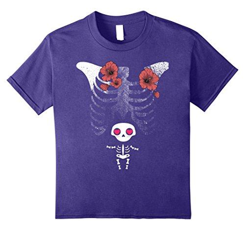 Pregnancy Themed Halloween Costumes (Kids Halloween Baby Skeleton MATERNITY Pregnancy Womens Tshirt 8 Purple)