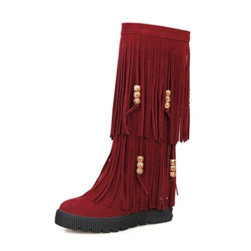 AllhqFashion Damen Rund Zehe Ziehen auf Mittler Absatz PU Leder Mittler Kalb Stiefel, Weiß, 35