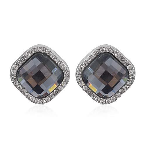 Cushion Cubic Zirconia Grey Glass CZ Stud Solitaire Earrings Gift Jewelry Silvertone for Women