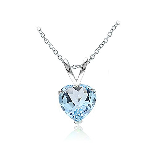 Blue Topaz Solitaire Pendant - Ice Gems Sterling Silver Blue Topaz 7mm Heart Solitaire Necklace