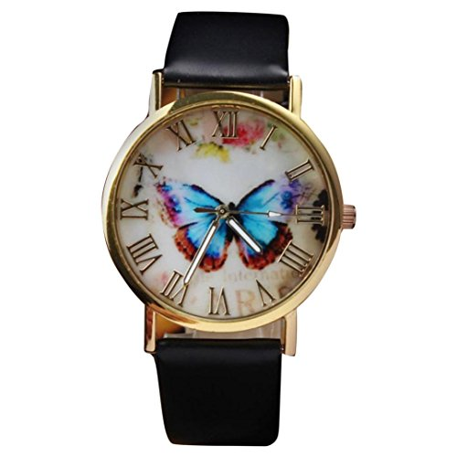 Womens Butterfly Style Leather Band Analog Quartz Wrist Watch Black - 1