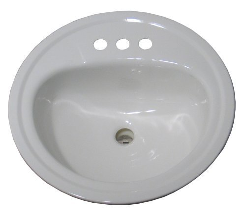 Crane Plumbing 1315V Galaxy 19 Inch Round Centerset Drop In Lavatory Porcelain Enameled