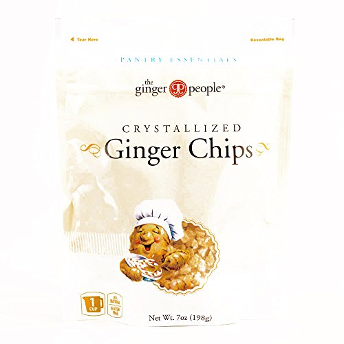 Crystallized Australian Ginger (Ginger People Baker's Cut Crystallized Ginger Chips 7 oz each (5 Items Per Order, not per case))