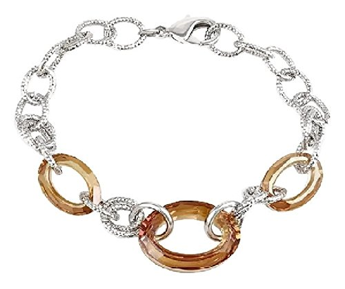 Champagne Colored Costume Jewelry (Silver Tone Metal and Champagne Colored Swarovski Crystal Rings Fashion Bracelet)