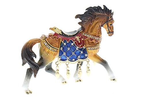 Ciel Jeweled Austrian Crystal Hinged Trinket Box Running Horse Eagle Saddle