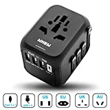 Universal International Travel Adapter with Auto-Reset Fuse, Whew All-in-One Worldwide Power Adapter Travel Plug Adapter, 5A USB Output, 1 Type C, 3 USB for US, UK, EU, AU, 170+ Countries (Black)