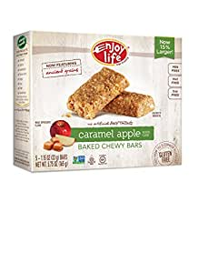 Enjoy Life Baked Chewy Bars, Gluten-Free, Non-GMO, Dairy-Free, Nut-Free + Soy-Free, Caramel Apple, 5 Count Bar/5.75 Ounce Box