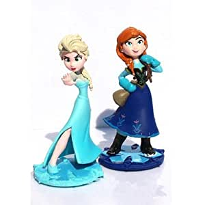 2pcs/set Princess Elsa Anna PVC Action Figure Toy Model Magic Clip Doll Anime Figure Figurines Kids Toys Gifts