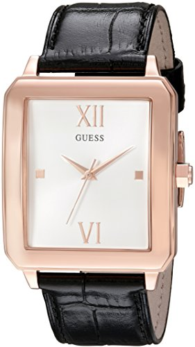 GUESS Men's U0918G2 Dressy Rose Gold-Tone Watch with  White Dial  and Genuine Leather Band