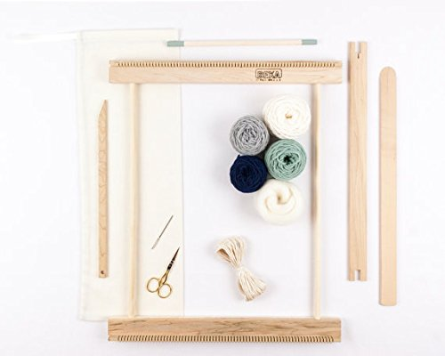 Beka 14'' FRAME LOOM WEAVING KIT/EVERYTHING YOU NEED TO MAKE YOUR OWN WOVEN WALL HANGING/MOSS & NAVY