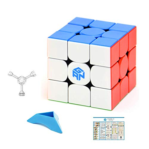 XMD gan 356R Speed Cube GAN 356 R 3x3 Stickerless 356 R 3x3x3 Speedcube GES V3 System Extra Blue Pouch (Oil Pop Pouches Easy)