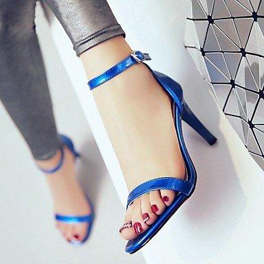 LvYuan Mujer Sandalias Semicuero PU Verano Otoño Paseo Hebilla Tacón Stiletto Blanco Negro Azul Rosa 7'5 - 9'5 cms Black