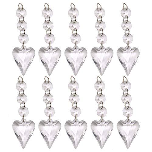 JETEHO 10 PCS Glass Crystals Teardrop Chandelier Ornaments Hanging Prisms Fengshui Heart Hanging Drop Suncatcher