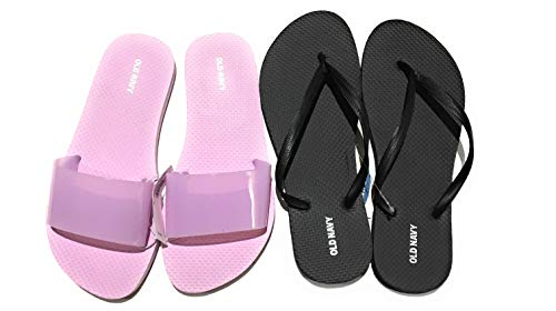 Old Navy Flip Flop Sandals for Woman, Great for Beach or Casual Wear (10, Lilac Purple Jelly Slide and Black) -