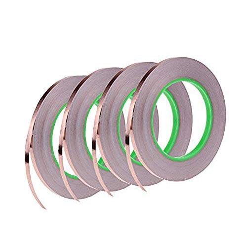 4 Pack Copper Foil Tape,Conductive Adhesive for EMI Shielding,Slug Repellent,Paper Circuits,Electrical Repairs,Grounding(1/4inch) ()