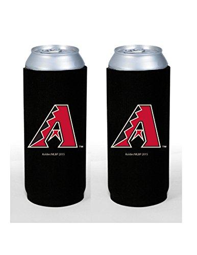 MLB Baseball Team Color Logo Tall Boy 24oz Neoprene Can Holder Sleeve Cooler 2-Pack (Arizona Diamondbacks)