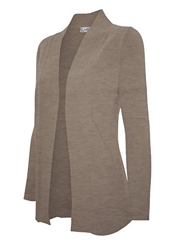 CIELO Women's Solid Basic Open Front Pockets Knit Sweater Cardigan Camel - Cardigan Camel