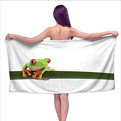 3D Printing Beach Towels? Eyed Tree Frog Perch L Slim Leaf Tropic Ra Animal Wild Life Photo,for Both Adults and Kids