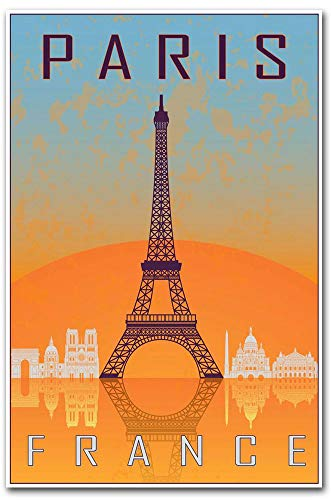 - Paris France Eiffel Tower Retro Travel Art Refrigerator Magnet Size 2.5
