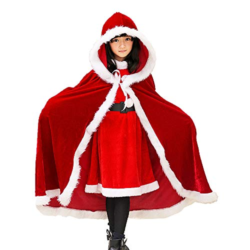 Plus Size Ho Costumes (Child Christmas Cloak Deluxe Velvet Mrs Santa Claus Robe Hooded Cloak, Cappa Cape Coat Long Xmas Cos-Play Costume (Red)