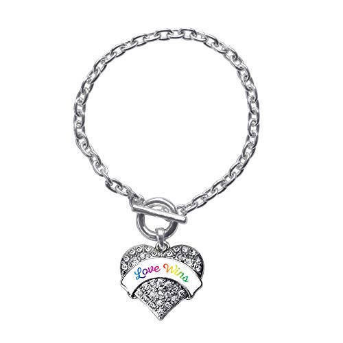 Inspired Silver - Love Wins Toggle Charm Bracelet for Women - Silver Pave Heart Charm Toggle Bracelet with Cubic Zirconia Jewelry