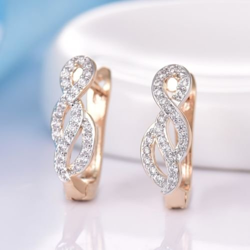 Gozebra(TM) Vintage Charms 18K Gold Platinum Filled Small Knot Leverback Earrings For Women