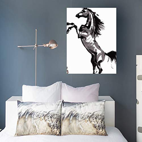 - Aika Designs Canvas Prints Wall Art Asia Horse Sumie Ink Rearing Arabian Wildlife Steed 16 x 16 Inches Modern Painting Decor Stretched Wooden Framed Wrapped Artwork