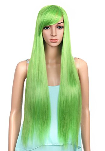 LOUISE MAELYS Long Straight Hair Cosplay Costume Party Wigs Hair Extension Green