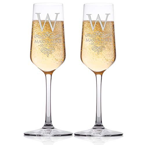 Set of 2 - Personalized Wedding Champagne Flute Glasses, Customized Wedding Champagne Glasses for Bride and Groom Name Wedding Date & Last Name Initial, Celebration Champaign Flute Set - C2 -