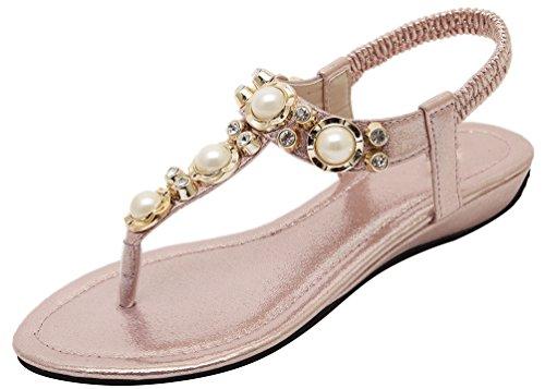 Abby 801-1 Womens Rhinestone Pearl Bead Cozy Thong Elastic Ankle Wrap Leisure Slip On Flat Sandals Lissom Split Open Toe Simple Street Summer Fashionable Pink MoE3H05