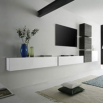 M 012 Ensemble Meuble Tv Suspendu Blanc Laque Et Wenge Moderne Carly