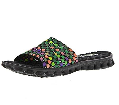 "Women's Skechers Slide Sandals ""EZ Flex Cool - Sand Piper"" - Black Multi (9, Black Multi)"