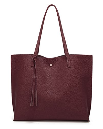 Women's Soft Leather Tote Shoulder Bag from Dreubea, Big Capacity Tassel Handbag Dark Red