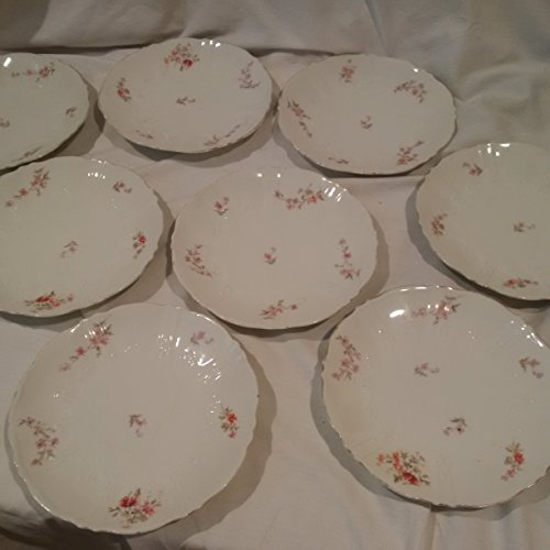 7 1/2 Salad Plates (Set of 6 Scalloped China Plates with Purple Floral Design, Set of 6 Antique Dessert / Salad Plates 7-1/2 In Diameter)
