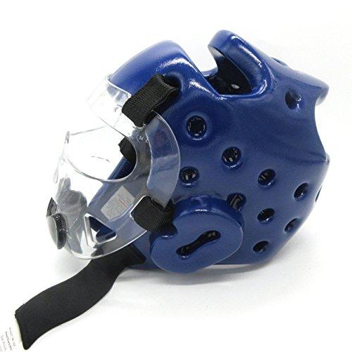 Taekwondo Headgear Karate Martial Arts Sparring Helmet Adult Head Guard Blue Red S M L XL (BLUE, XL)