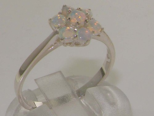 925 Sterling Silver Real Genuine Opal Womens Cluster Anniversary Ring