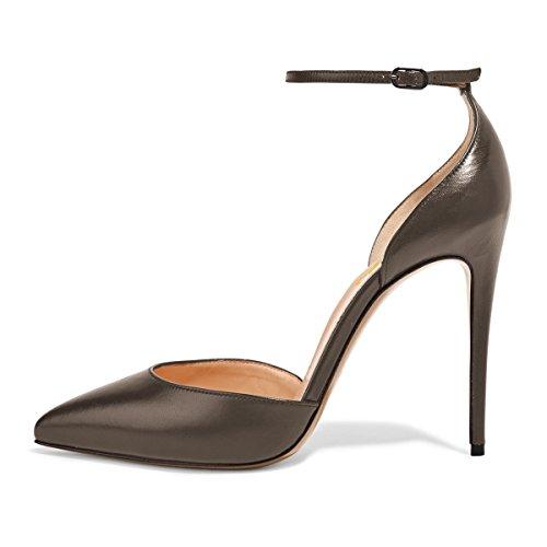 Fsj Donne Sexy Cinturino Alla Caviglia Pompe Scarpe A Punta Stiletto Tacco Alto Scarpe Dorsay Taglia 4-15 Us Marrone Dorato