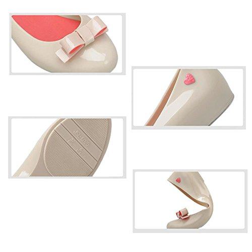 Hzjundasi Mujer Antideslizante Jalea Arco Boca Baja Planos Zapatos Dama Casual Impermeables Botas de Lluvia Agua Zapatos DarkBlue