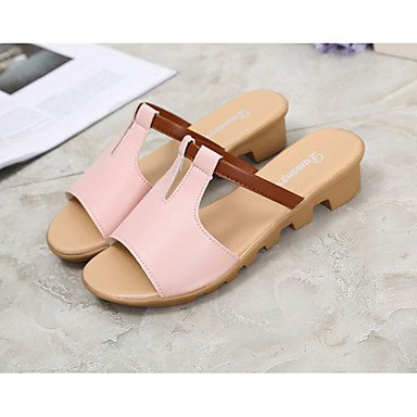 LvYuan Mujer-Tacón Plano-Confort-Sandalias-Exterior Vestido-PU-Negro Rosa Blanco Azul Claro Pink