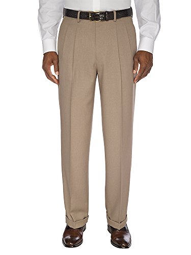 Paul Fredrick Men's Comfort-Waist Microfiber Pleated Pants Tan 30 -