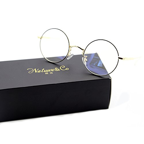Round Metal Rim - Natwve&Co Full Rim Retro Metal Eyeglasses Round Clear Lens Optical Frames (85070) (Black with Gold)