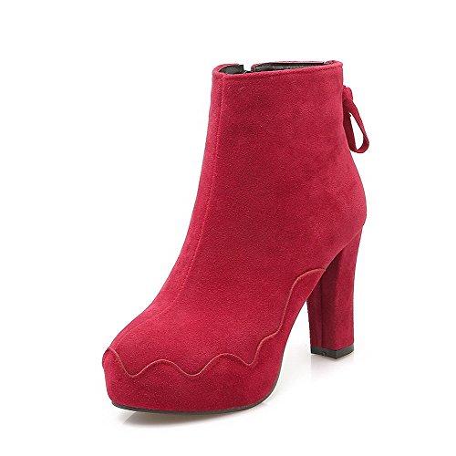 AllhqFashion Mujeres Cremallera Tacón Alto Gamuza(Imitado) Sólido Caña Baja Botas Rojo