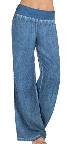 Jaycargogo Womens Casual High Waist Washed Denim Wide Leg Palazzo Pants Blue L
